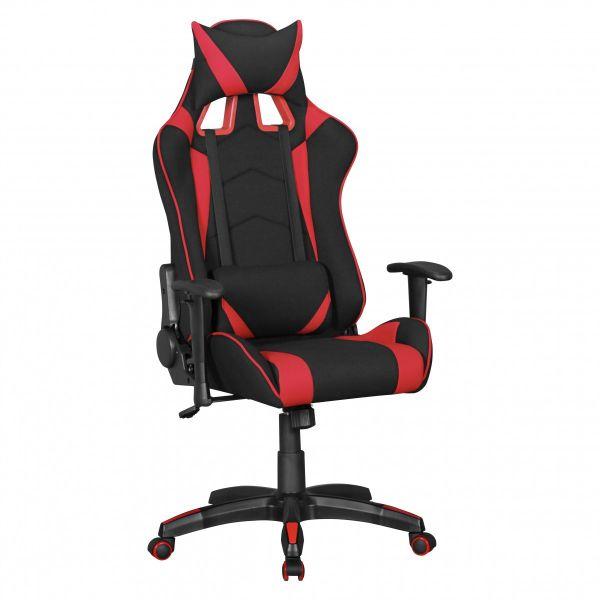 SCORE Bürostuhl Schreibtischstuhl Gaming, Stoffbezug Schwarz Rot