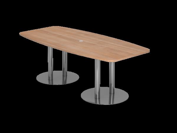 Konferenztisch KT22S 220x105cm Nussbaum Säulenfuße Gestellfarbe: Chrom
