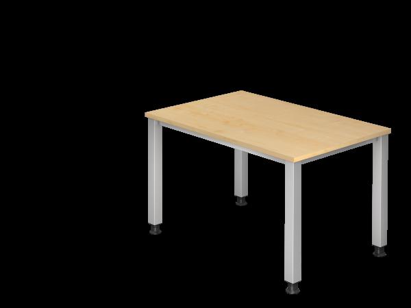 Schreibtisch QS12 4Fuß eckig 120x80cm Ahorn Gestellfarbe: Silber
