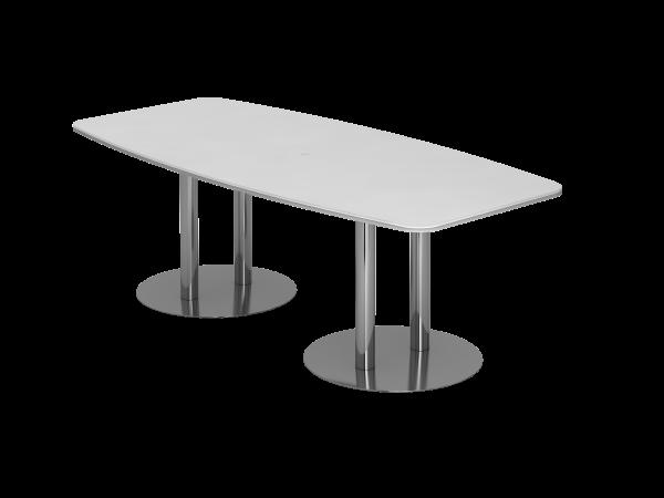 Konferenztisch KT22S 220x105cm Weiß Säulenfuße Gestellfarbe: Chrom