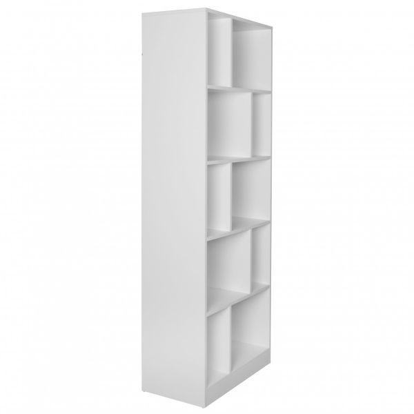 Bücherregal ALEX, MDF - Holz weiß / schwarz, 181x62x34 cm