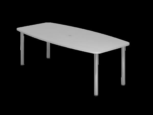 Konferenztisch KT22C 220x105cm Grau 4-Fuß Gestellfarbe: Chrom