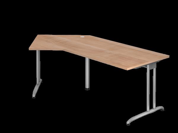 Winkeltisch BS21 C-Fuß 210x113cm 135° Nussbaum Gestellfarbe: Silber
