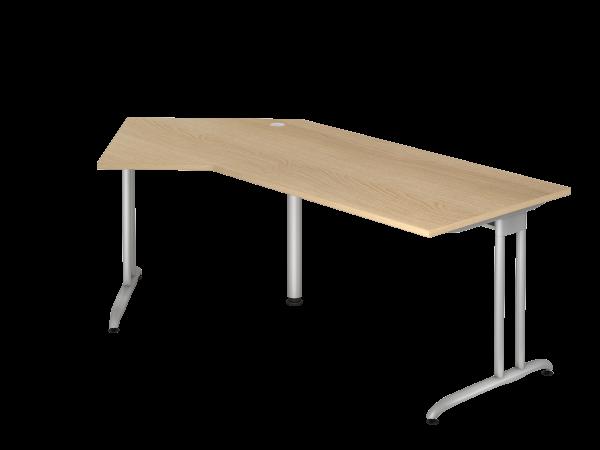 Winkeltisch BS21 C-Fuß 210x113cm 135° Eiche Gestellfarbe: Silber