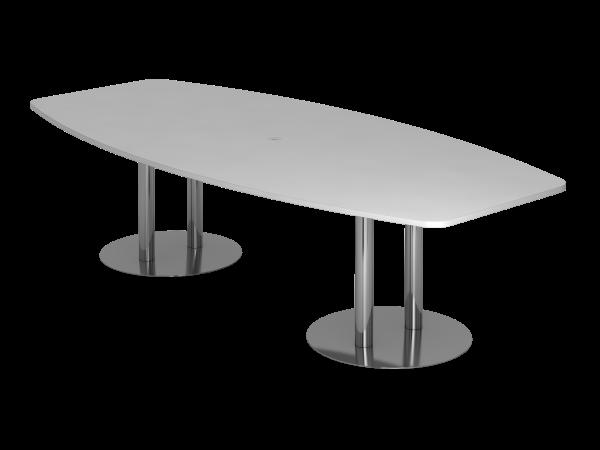 Konferenztisch KT28S 280x130cm Säulenfuß Grau Gestellfarbe: Chrom