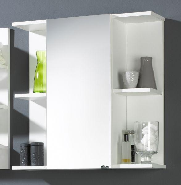 Spiegelschrank, weiss, multi-use, 2 offene Fächer