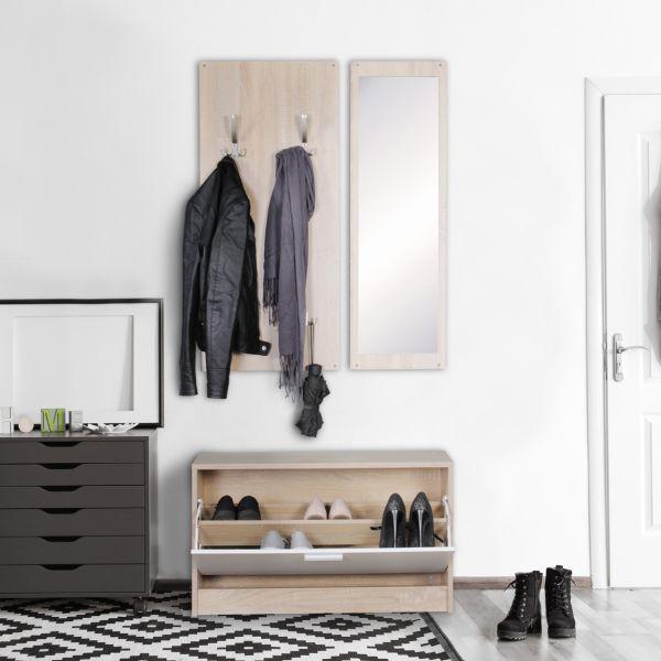 Wand-Garderobe JANA mit Spiegel & Schuhschrank Spanplatte sonoma