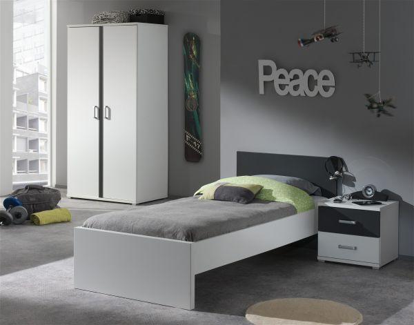 Set Josh best. aus Einzelbett 90x200 cm, Nachtschrank, Kleiderschrank 2-trg., Weiß/Anthrazit