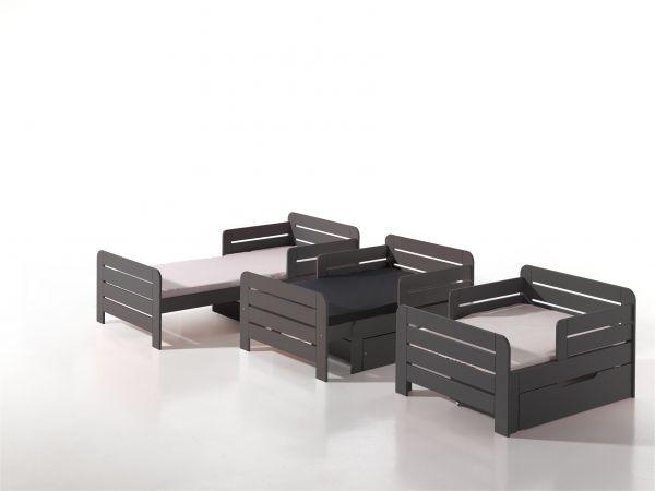 Kinderbett Jumper ausziehbar 160-200 cm, inkl. Bettschublade & Matratze, grau... | Kinderzimmer > Textilien für Kinder > Kinderbettwäsche | Vipack