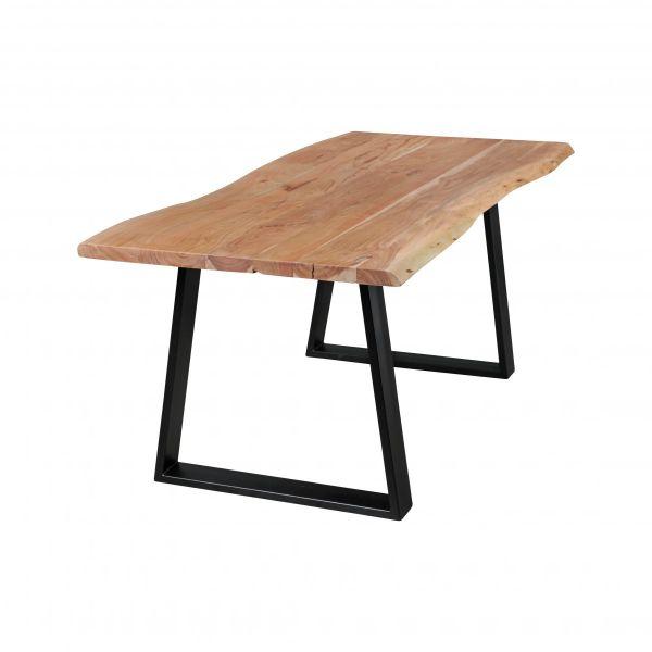 Baumstamm Esszimmertisch, Esstisch, Küchentisch, Massivholz Akazie, 160x80cm