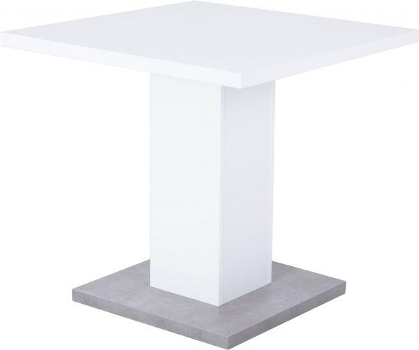 Esstisch Adam, 80x80x75 cm, Weiß / Betonoptik