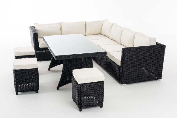 Sitzgruppe Sorano 5mm Cremeweiß, schwarz