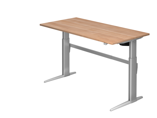 Sitz-Steh-Schreibtisch elektrisch XE16 160x80cm Nussbaum Gestellfarbe: Silber