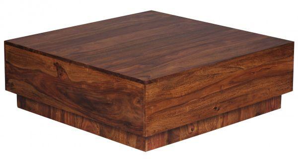 Sheesham Couchtisch, Wohnzimmer-Tisch, 90 cm breit Design, Massiv-Holz, Dunkel-Braun