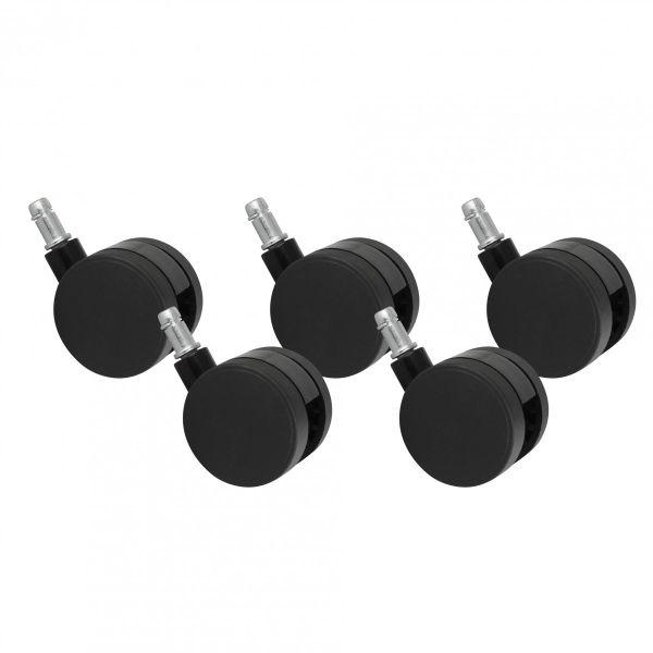 5er Set Rollen für Bürostuhl Schwarz Stift 11mm/Durchmesser 60mm