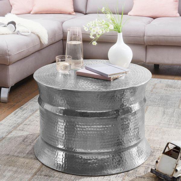 Couchtisch KARAM 62x41x62cm Aluminium Silber Beistelltisch orientalisch rund