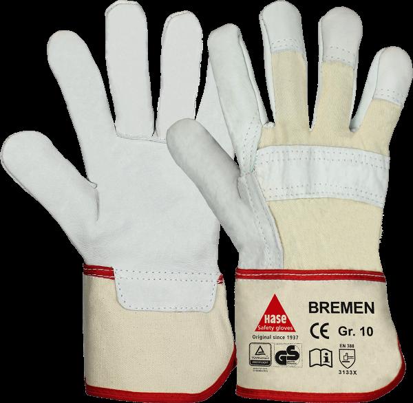 12 Paar - BREMEN, 5 Finger -Sicherheitshandschuhe aus Vollleder