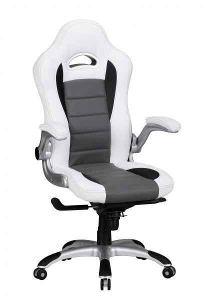 RACING Bürostuhl, Schreibtischstuhl, Chefsessel, Kunstleder Weiß