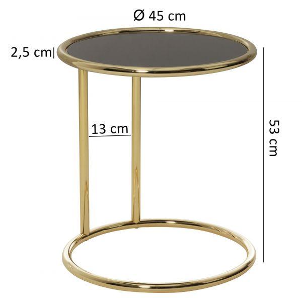 Design Beistelltisch LEONA Ø 45 cm Couchtisch Rund Schwarz/Matt Gold