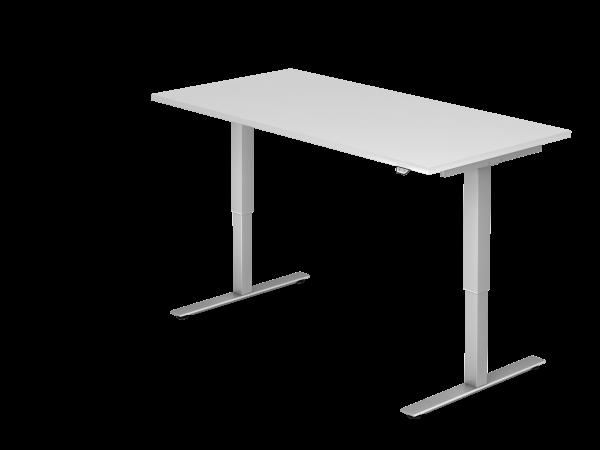 Sitz-Steh-Schreibtisch elektrisch 160x80cm Weiß Gestelfarbe: Silber