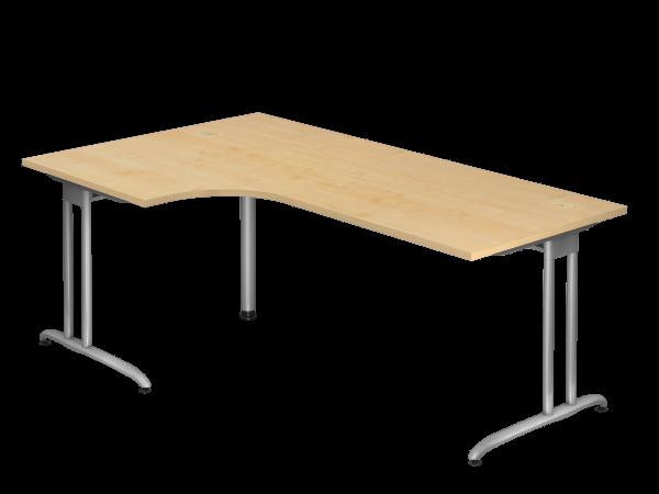 Winkeltisch C-Fuß 200x120cm 90° Ahorn Gestellfarbe: Silber