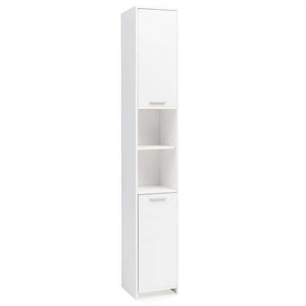 Badschrank Modern Holz | Badezimmerschrank mit 2 Türen 30,5 x 190 x 30 cm Weiß