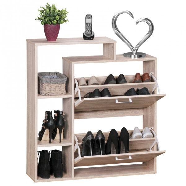 Moderner Schuhkipper, Schuhschrank für 12 Paar Schuhe, Sonoma Eiche, 85 x 24 x 93 cm