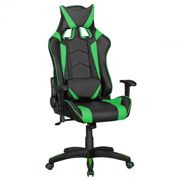 SCORE Bürostuhl Schreibtischstuhl Gaming, Leder-Optik Schwarz Grün