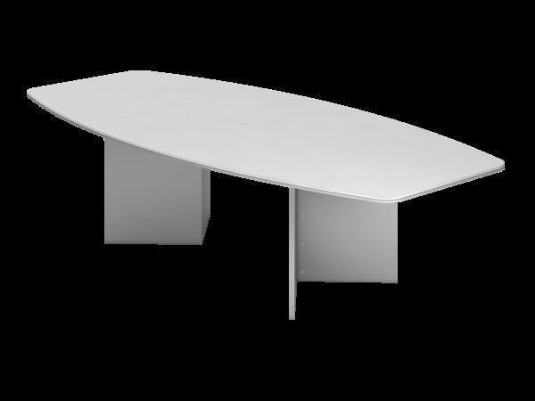 Konferenztisch KT28H 280x130cm Weiß Holzgestell: Silber