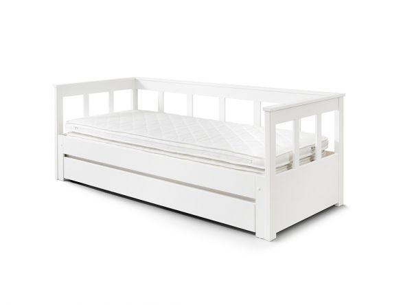Funktionsbett mit Auszug & Liegefläche 90 – 180 x 200, Bettschublade, Kiefer massiv weiß