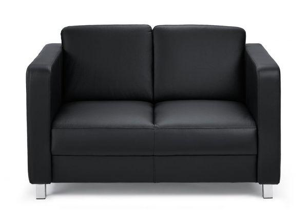 Sofa 2-Sitzer Arezzo Echtleder, schwarz