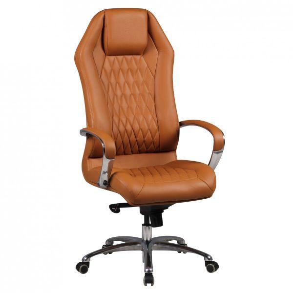 MONTEREY Schreibtischstuhl Chefsessel hohe Rückenlehne, Echtleder Caramel