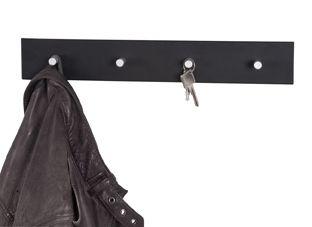 Garderobenleiste, schwarz - Alu, Metall, 40x6x4cm