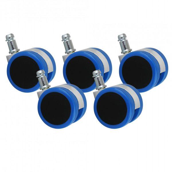 5er Set Rollen für Bürostuhl Blau Stift 11mm/Durchmesser 50mm