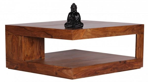Sheesham Couchtisch, Wohnzimmer-Tisch, 90 cm breit, Massiv-Holz, Dunkel-Braun