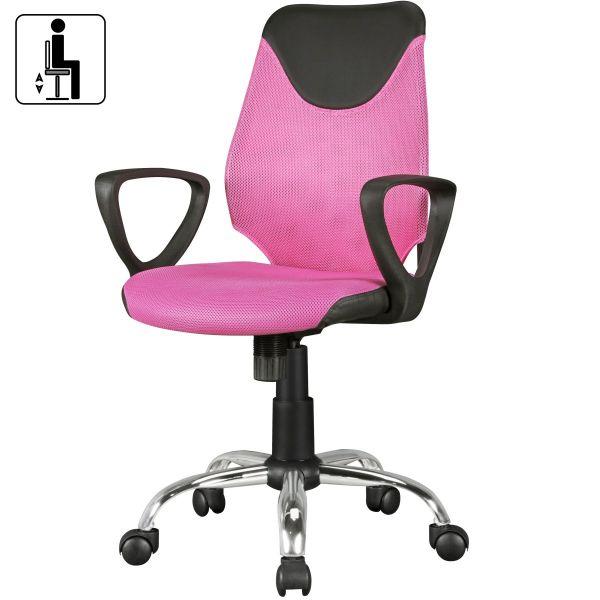 Jugenstuhl KiKa, ergonomisch, höhenverstellbar, Schwarz Pink