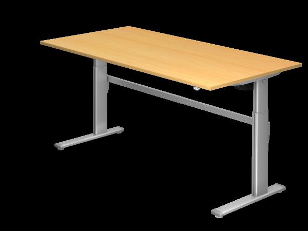 Sitz-Steh-Schreibtisch elektrisch 200x100cm Buche Gestellfarbe: Silber