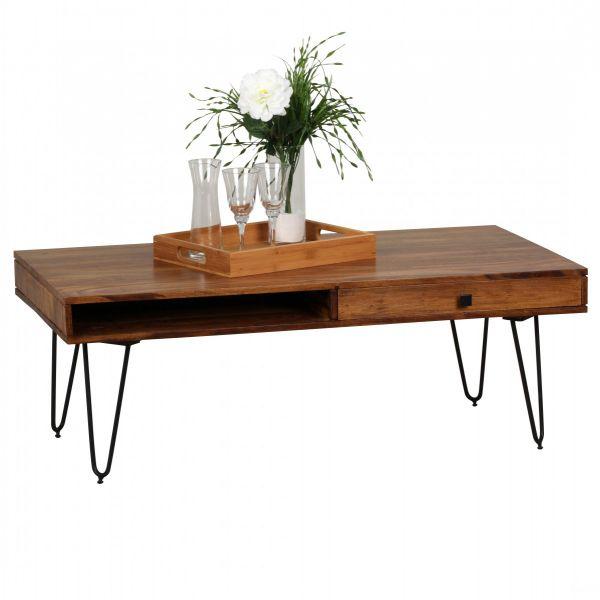 Sheesham Couchtisch, Wohnzimmer-Tisch, 120cm breit, Massiv-Holz