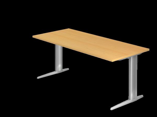 Schreibtisch C-Fuß 180x80cm Buche Gestellfarbe: Silber