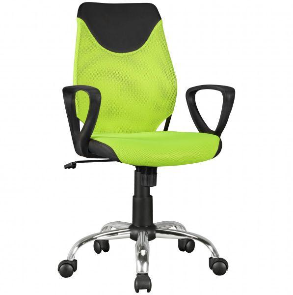Kinder Schreibtischstuhl Jugenstuhl KiKa, ergonomisch, höhenverstellbar, Schwarz Limette