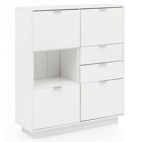 Sideboard Kommode mit Türen, 103x123x35 cm ,Weiß Hochglanz