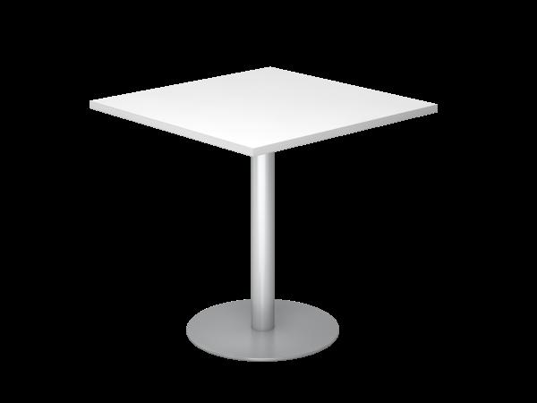 Besprechungstisch STF08 80x80cm Weiß Gestellfarbe: Silber