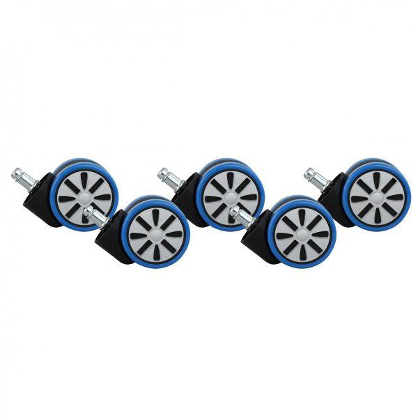 5er Set Rollen für Bürostuhl Blau Stift 11mm / Durchmesser 60mm