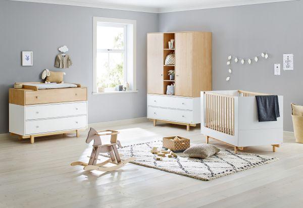 Kinderzimmer 'Boks' breit groß, weiß / Ahorn
