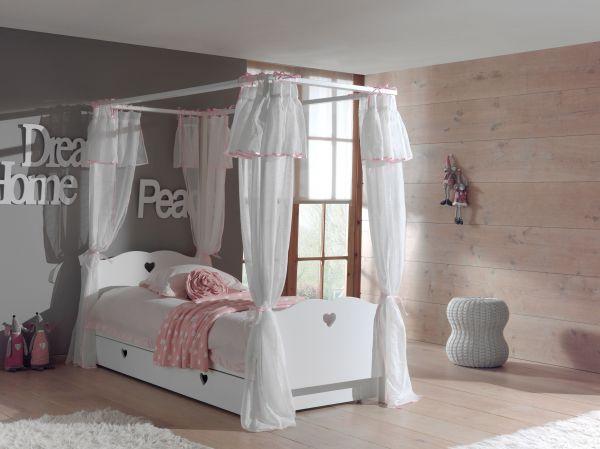 Set Amori best. aus: Himmelbett, Bettschublade und Textil-Vorhang, Weiß
