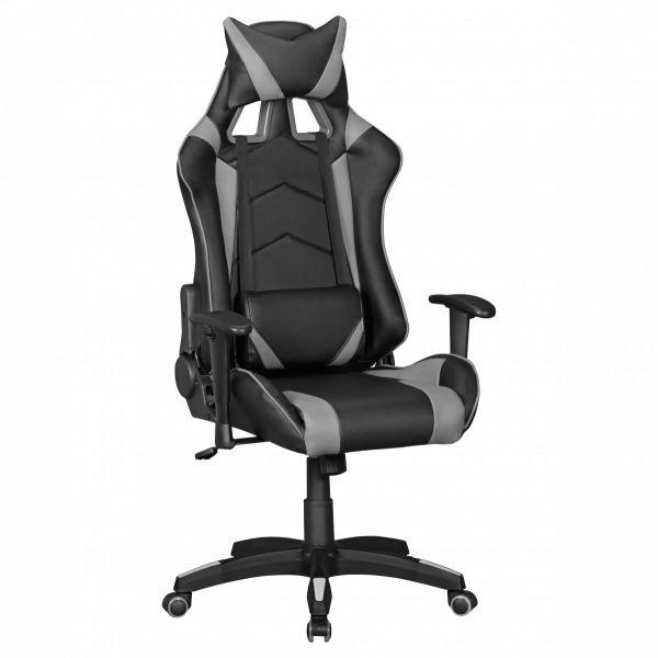 SCORE Bürostuhl Schreibtischstuhl Gaming, Leder-Optik Schwarz Grau