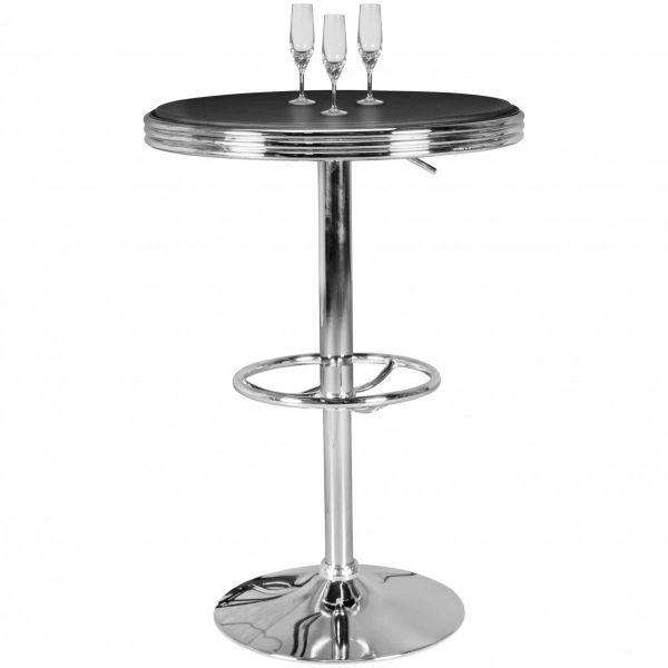 American Diner Bartisch ELVIS rund Ø 60 cm Aluminium Kunstlederbezug, Schwarz