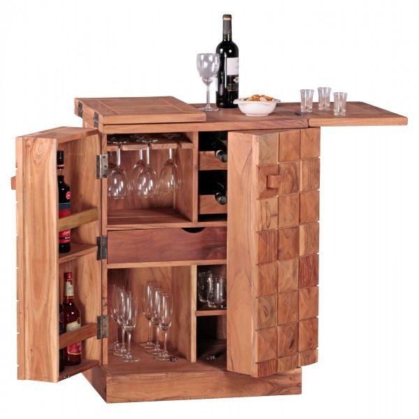 Barschrank, Hausbar, ausklappbar, Massivholz, Akazie