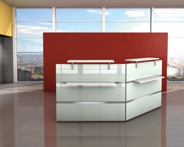 Empfangstresen Winkeltheke Atlantis Weiß / Glas 242x173cm
