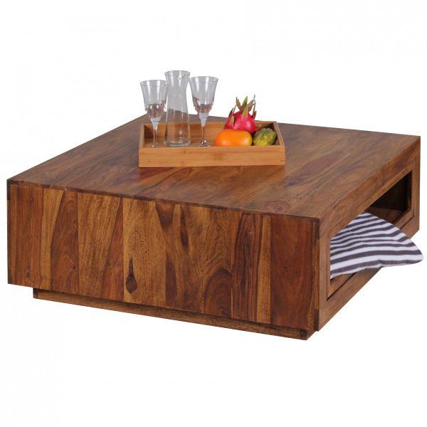Sheesham Couchtisch, Wohnzimmer-Tisch, ausziehbar, Massiv-Holz, 88 x 88 cm
